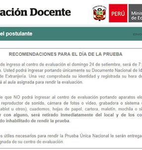 MINEDU: Recomendaciones para el Día de la Prueba Única Nacional - Examen de Ascenso (24 Setiembre) www.minedu.gob.pe