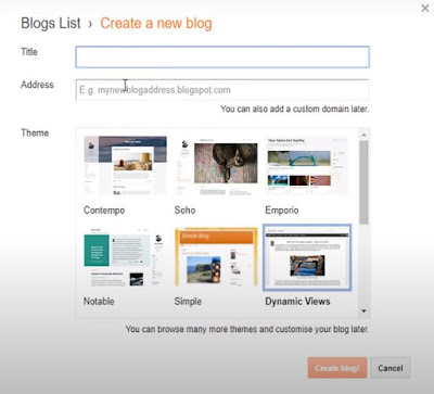 In this step, you have to create your blog by providing a Title, Web address, and suitable theme as shown in Fig - 4.
