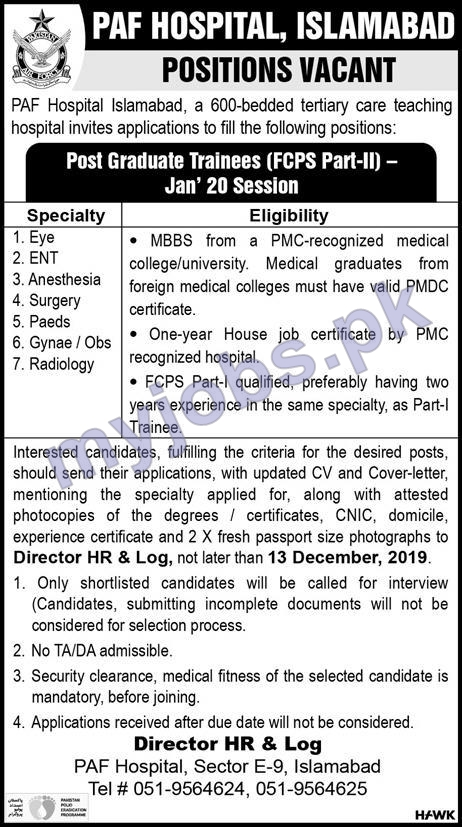 LATEST JOBS IN PAF HOSPITAL, ISLAMABAD I POSITIONS VACANT I APPLY NOW