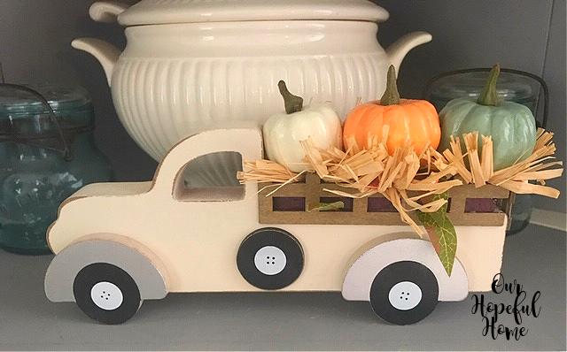 Wal-Mart wooden pick-up truck pumpkins hay