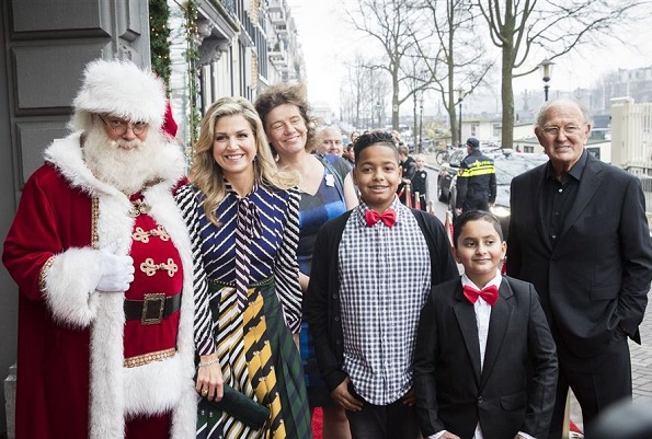 Dutch Queen Maxima wore Mary Katrantzou Printed Crepe de Chine Maxi Dress