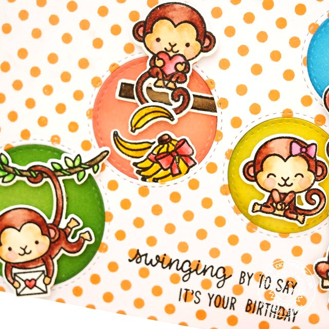 Sunny Studio Stamps: Love Monkey Card by Lexa Levana (using Background Basics Stamps & Scattered Circle Dies)