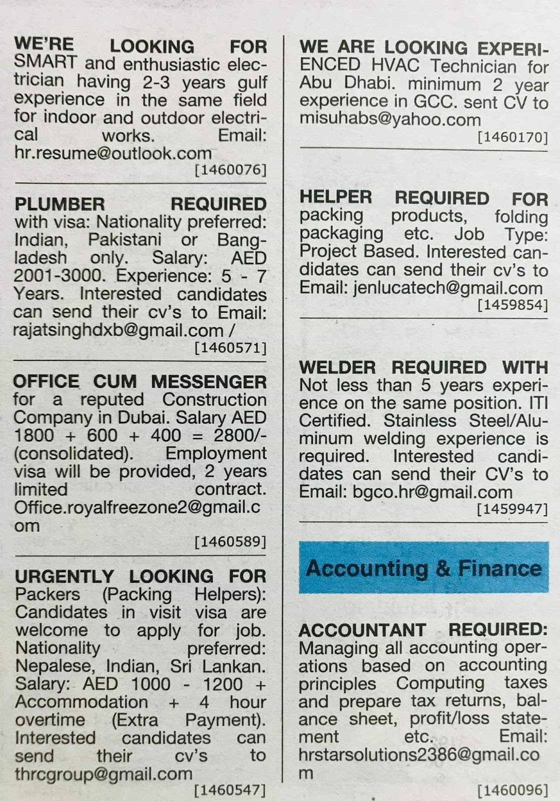 Required Multiple Positions Local Hiring Jobs Khaleej Times-UAE