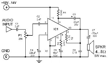 single-ic-25w-amplifier-circuit-diagram
