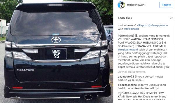 MENGEJUTKAN! Kereta Toyota Vellfire Milik Che Ta Hilang Dicuri