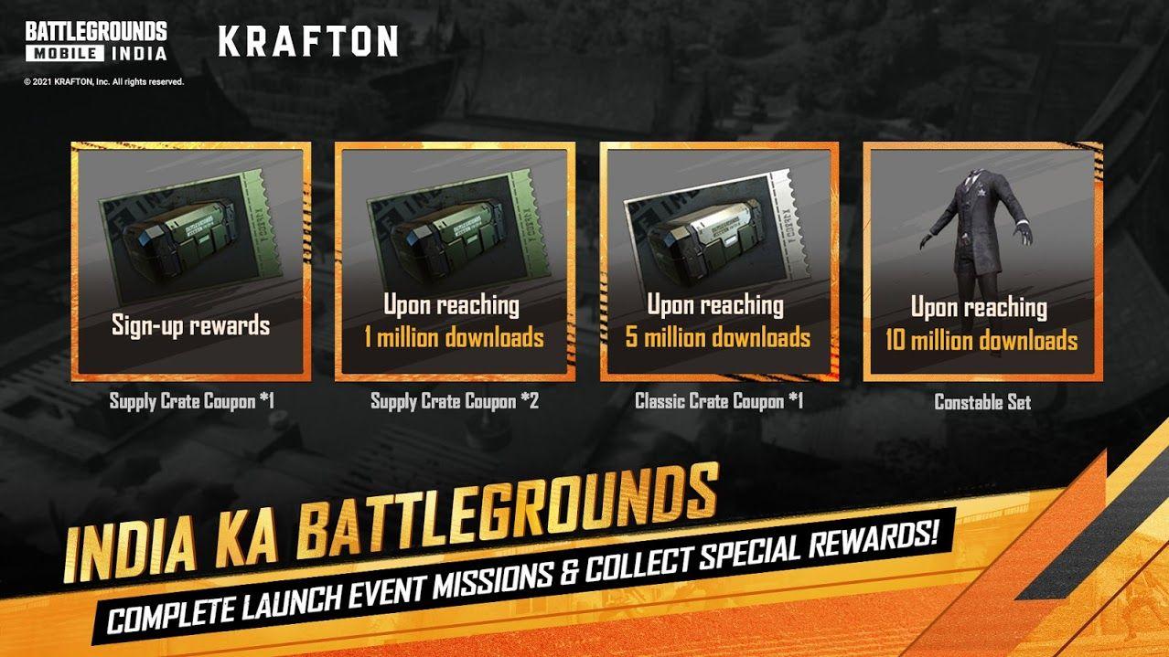 Battlegrounds Mobile India (BGMI) Launch Rewardse
