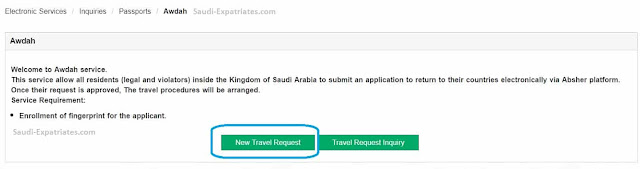 Procedure to apply for Awdah service in Absher for Expats who wish to return to Home Countires