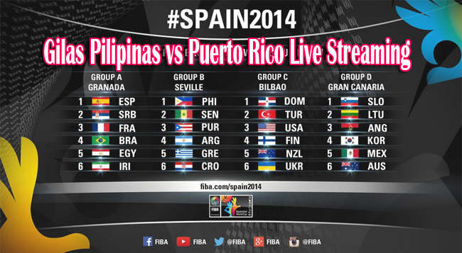 Watch Gilas Pilipinas vs Puerto Rico on FIBA World Cup Basketball Game 2014 on Live Streaming and Replay