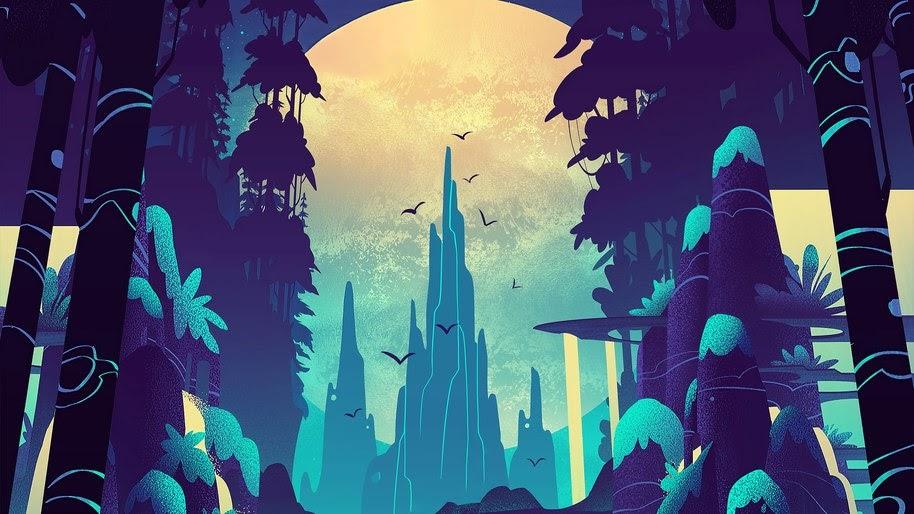 Forest, Moon, Night, Digital Art, 4K, #15