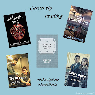 A display of book covers for Midnight Sun, The Lost Blackbird, Poems of William Blake and fan-made (by me) covers for The Old Guard and Agents of Shield Daisy and Daniel Fanfiction on light blue background titled Currently Reading in black font