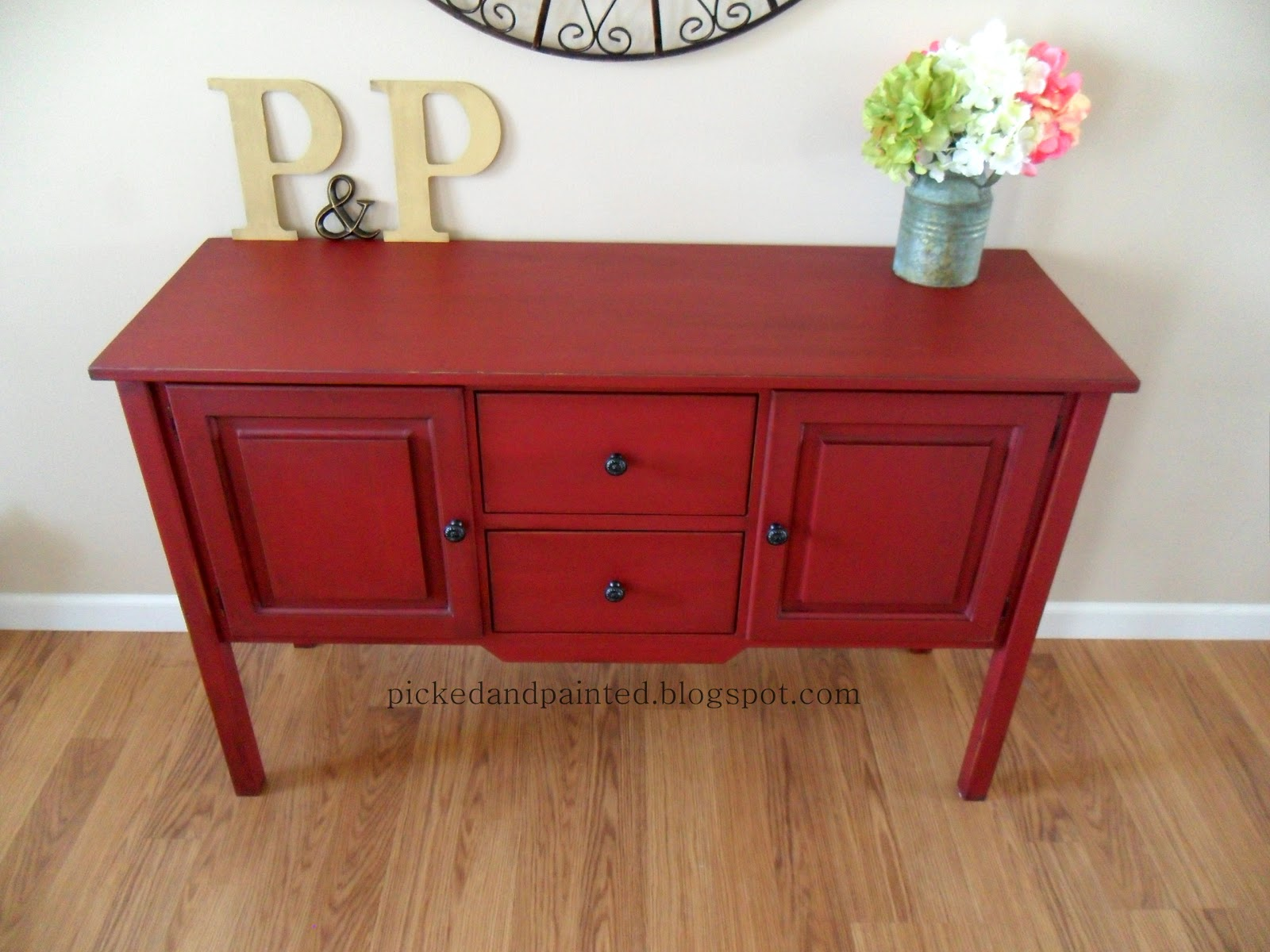 Red Painted Dresser with Chalk Paint