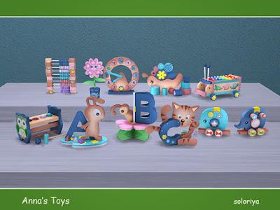 Anna's Toys Игрушки Анны для The Sims 4 Набор декоративных милых игрушек. Включает в себя 11 объектов, имеет 3 цветовые палитры. Категория: Декоративные - Беспорядок для всех предметов. Предметы в наборе: - муравей - бабочка - кошка - слоны - улитка - цветок - Часы - счеты - ксилофон - барабан - карандаши. Автор: soloriya