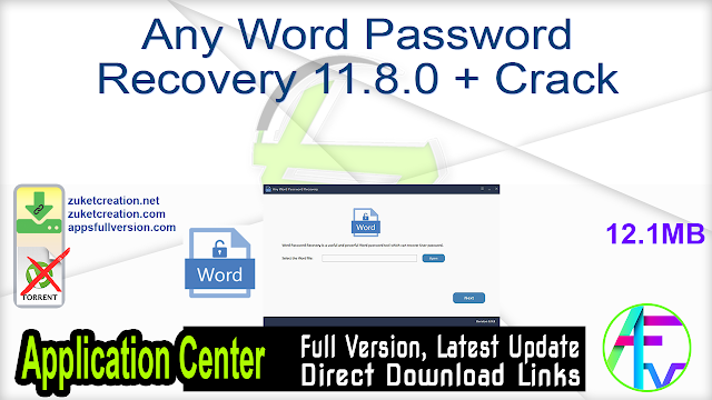 Any Word Password Recovery 11.8.0 + Crack