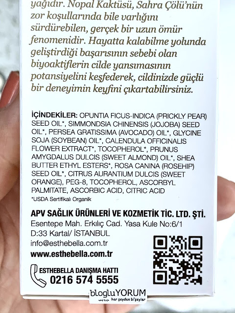 esthebella the renewal oil içerik