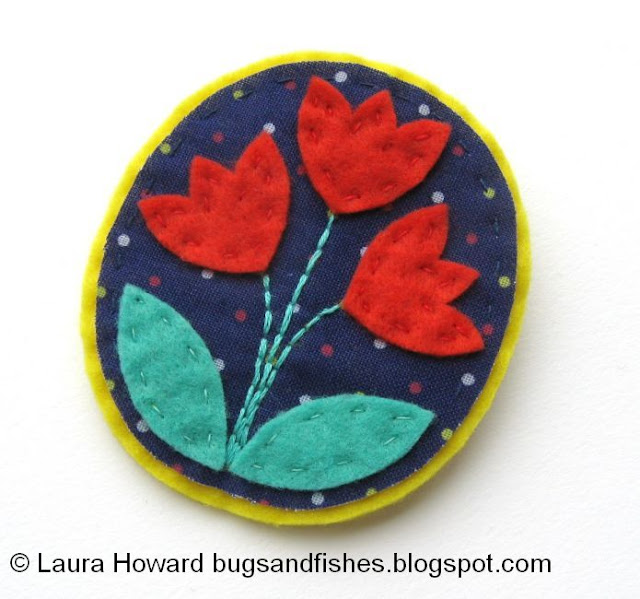 folk floral tulips brooch