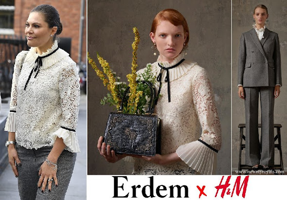 Crown Princess Victoria wore Erdem x H&M  blouse and trousers
