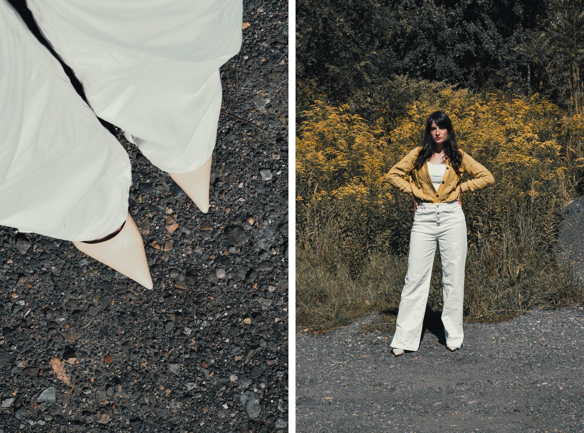 białe spodnie prosty krój nakd lounge stylizacja