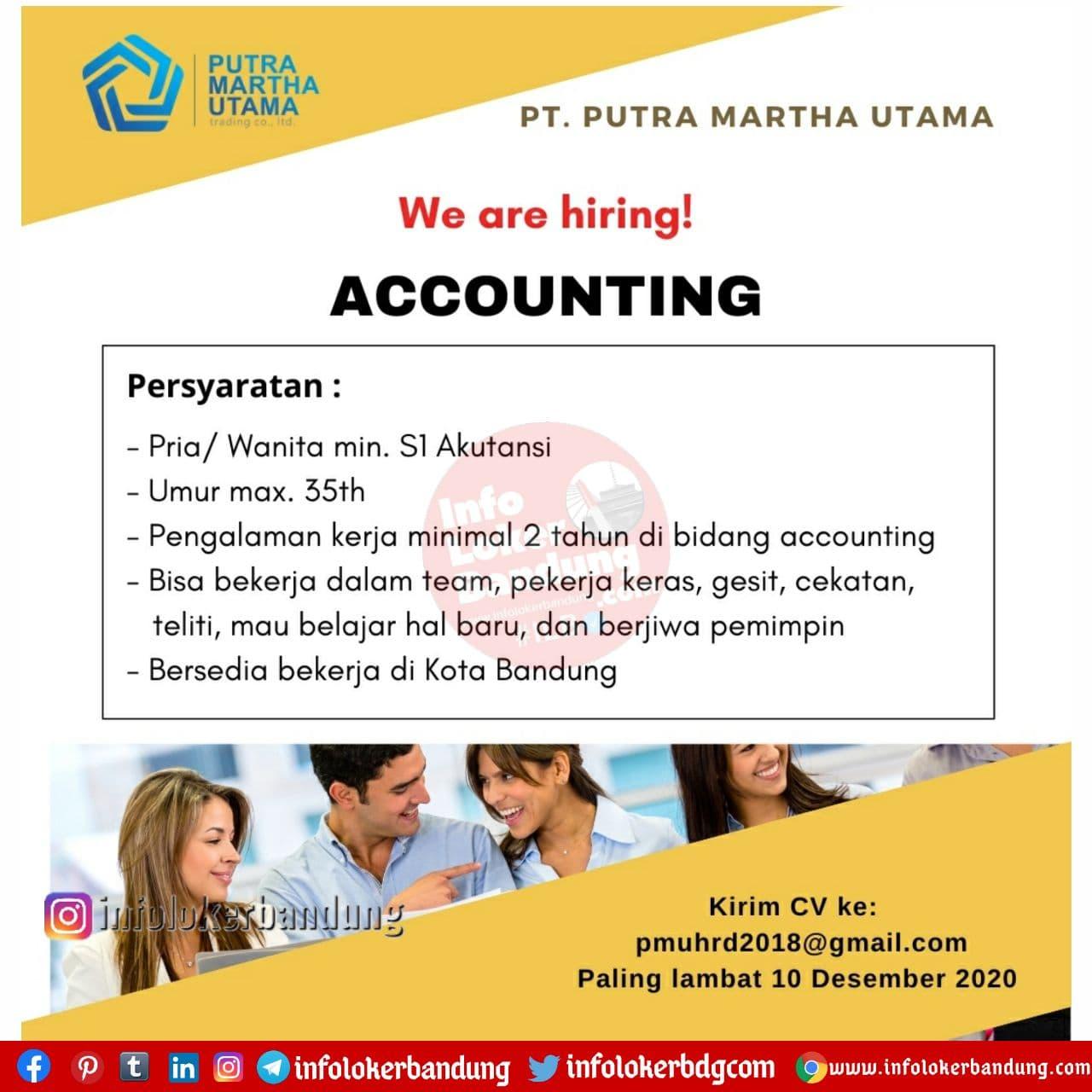 Lowongan Kerja Accounting PT. Putra Martha Utama Bandung Desember 2020