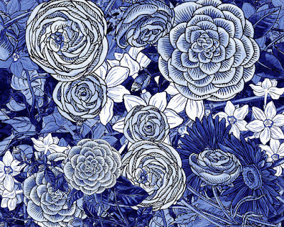 Floral Design Blue Flowers For Merchandise Bestseller