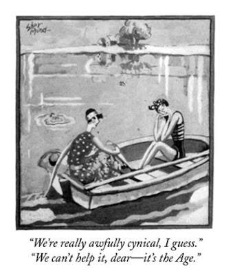 """A black and white cartoon from the 1920s of 2 women in a boat. The caption reads, """"We're really awfully cynical, I guess. We can't help it, dear-it's the Age""""."""