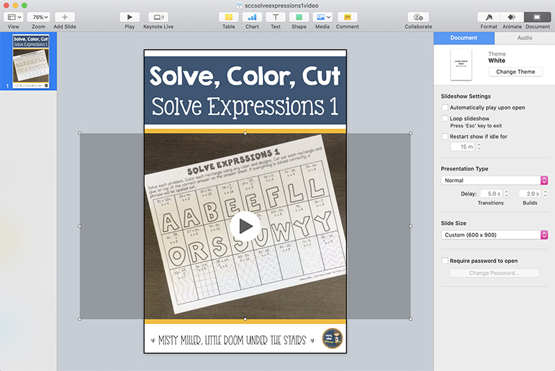 Screenshot of Keynote file showing pin background - title at top Solve, Color, Cut Solve Expressions 1 with blue background, middle of pin has video, bottom of pin is white with Misty Miller, Little Room Under the Stairs
