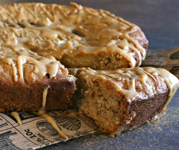 Banana bread flavored with peanut butter and topped with a peanut butter glaze.