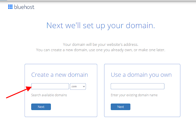 Domain Search on Bluehost for Wordpres Blog