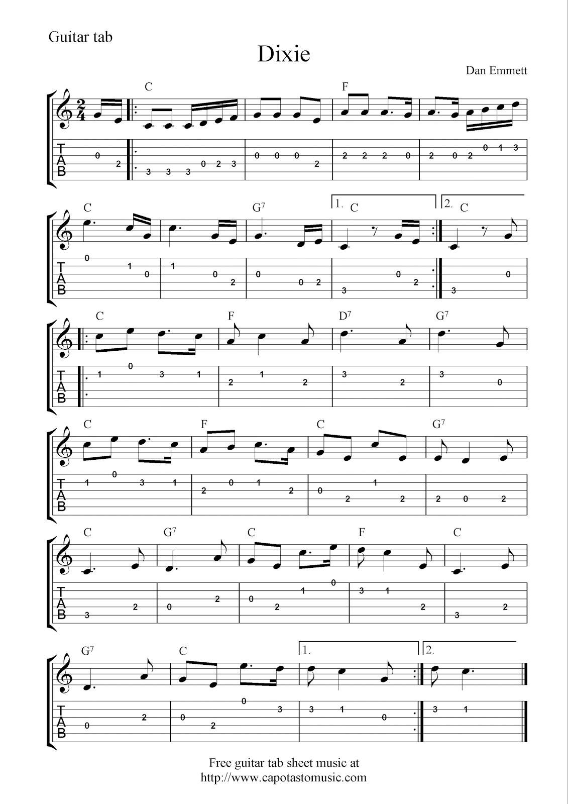 Easy Sheet Music For Bass Guitar