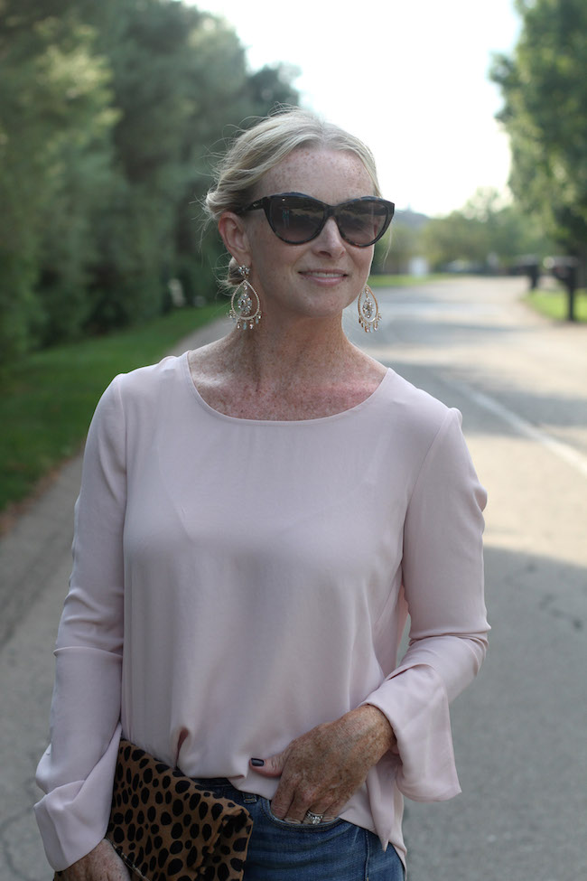 saint laurent sunglasses, marchesa earrings, pleione bell sleeve top