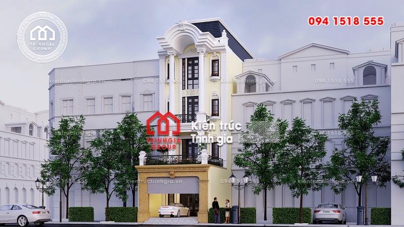Bản vẽ thiết kế nhà phố mặt tiền 6m phong cách tân cổ điển