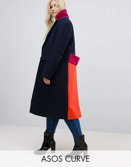 ASOS CURVE Coat in Colourblock €94.99