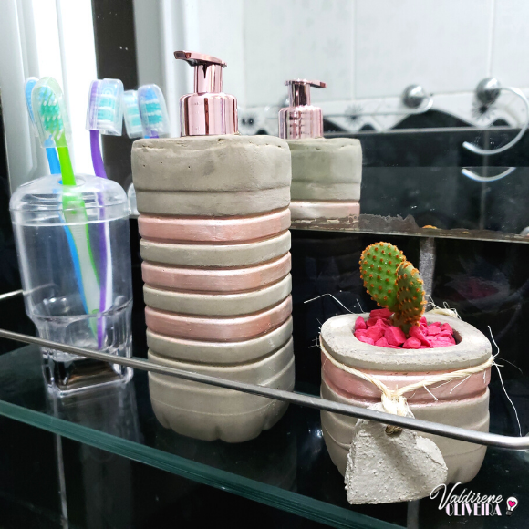Diy saboneteira de  cimento para banheiro - valdirene oliveira