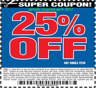 free Harbor Freight coupons april 2017