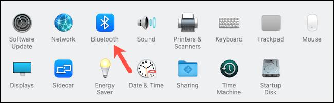 تفضل بزيارة تفضيلات نظام Bluetooth على جهاز Mac