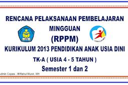 Download Perangkat Pembelajaran PAUD RPPM RPPH Kurikulum 2013 Revisi Lengkap