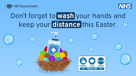 Wash your hands this Easter colourful drawing o easter eggs in a basket with hand sanitiser