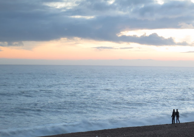 The sea at dusk; West Bexington, Dorset