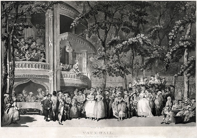 An entertainment in Vauxhall Gardens in about 1779, by Thomas Rowlandson.