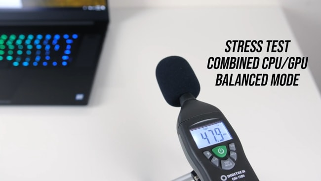 During stress tests in balanced mode, The fans were heard but the noise level was measured below an average compared to other laptops I have tested.