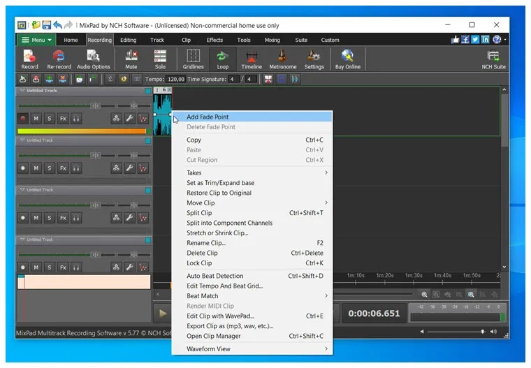 MixPad :   Επαγγελματικών προδιαγραφών πολυκάναλη ηχογράφηση και μίξη των μουσικών σας αρχείων