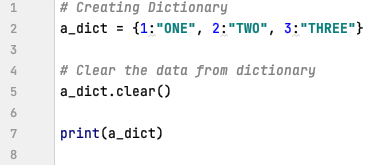 Clear data from the dictionary