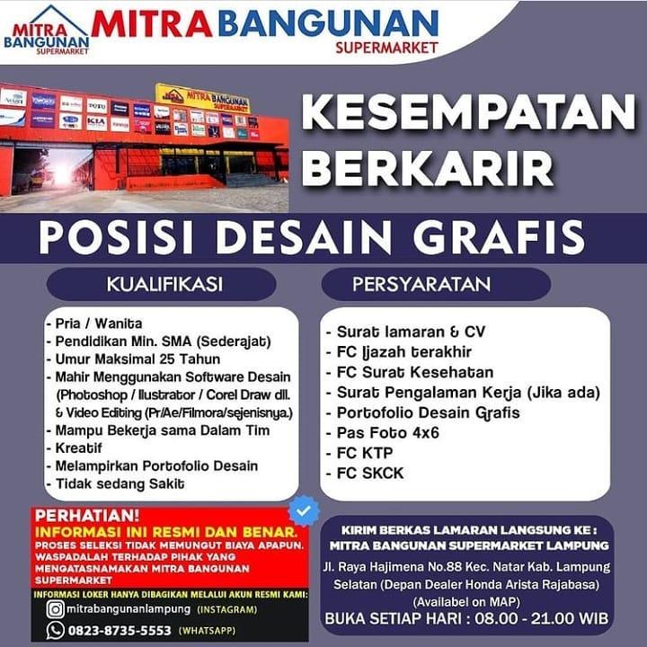 Lowongan Kerja Mitra Bangunan Supermarket Lampung 2021 Karir Bandar Lampung