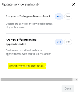 Google My Business Appointment URL