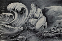 Sage Agastya draining the oceans waters