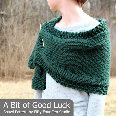 Fifty Four Ten Studio A Bit Of Good Luck Easy Shawl Knitting Pattern