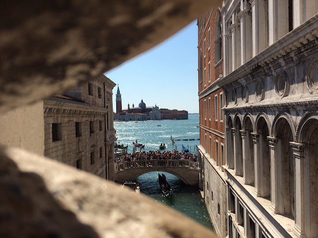 View from the Ponte dei Sospiri (Bridge of Sighs), Venice, Italy