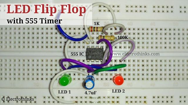 LED Flip Flop with 555 Timer