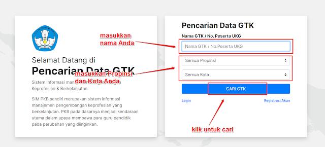 Pencarian Nama GTK di simpkb