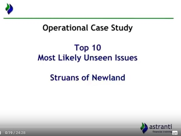 Top 10 issues video for CIMA OCS November 2017  - Struans of Newland  Case study