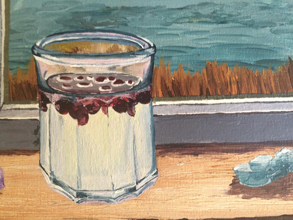 Alcoholism in Alaska Art Painting of a Glass, Crystal, and Cranberries